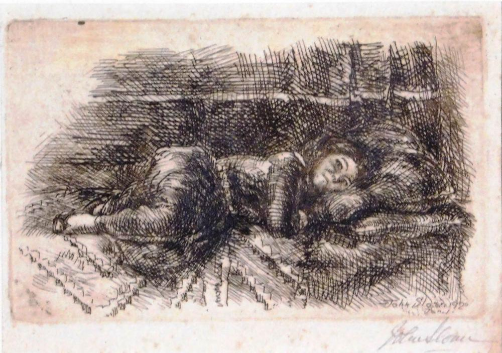 """John Sloan (American, 1871-1951), """"Little Woman"""", 1920, intaglio print, framed, Ed: 100, depicts young woman laying down, patterned..."""