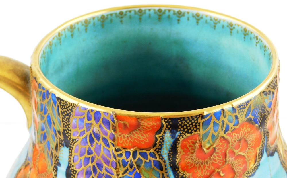 Crown Devon Fielding's ceramic pitcher, early 20th C. English, unusual gilt spider web decoration on robin's egg blue background wit.