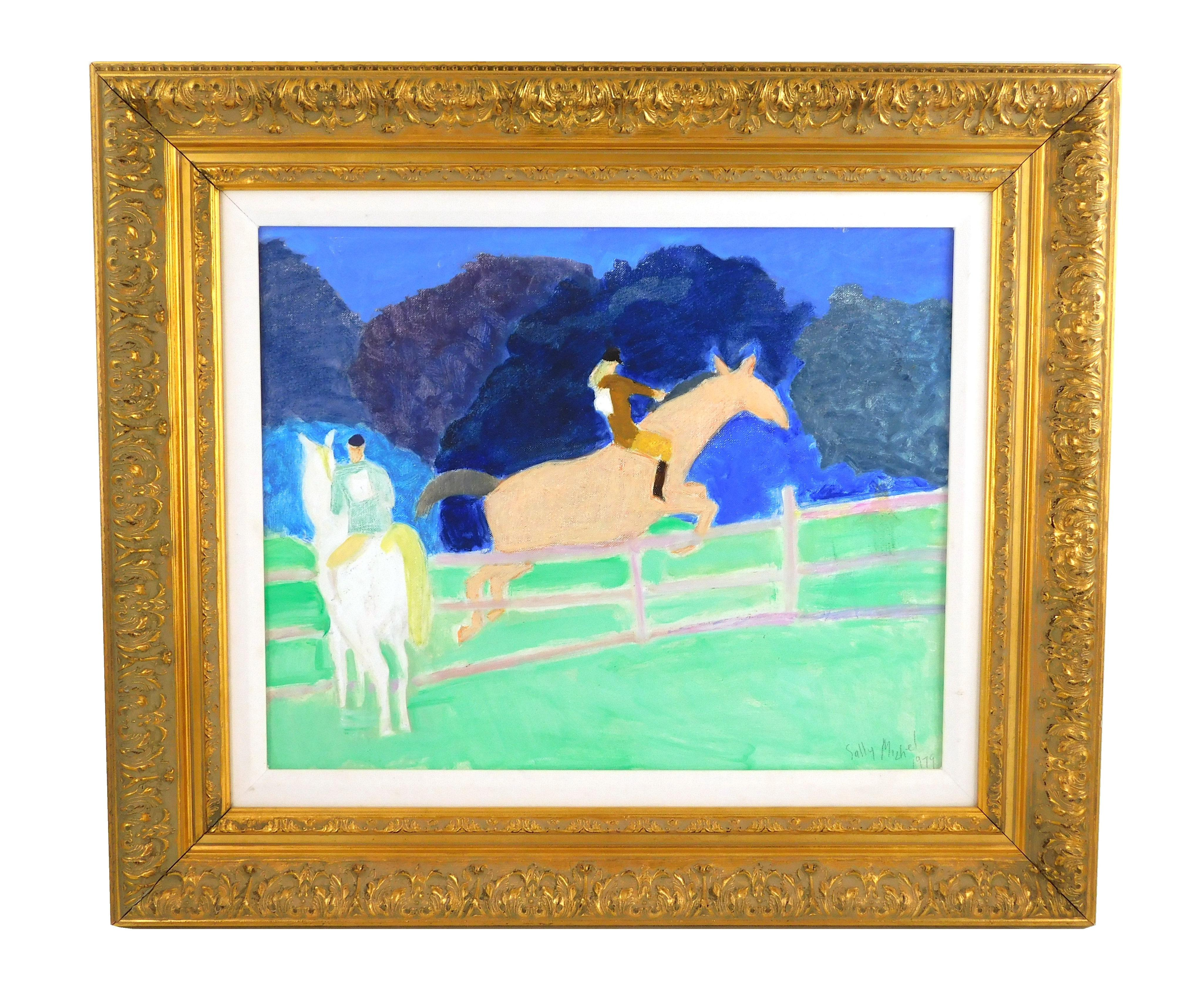 """Sally Michel (Avery) (American, 1902-2003), """"Jumper"""", 1979, oil on board, two riders on horseback, one jumping fence, the other clos..."""