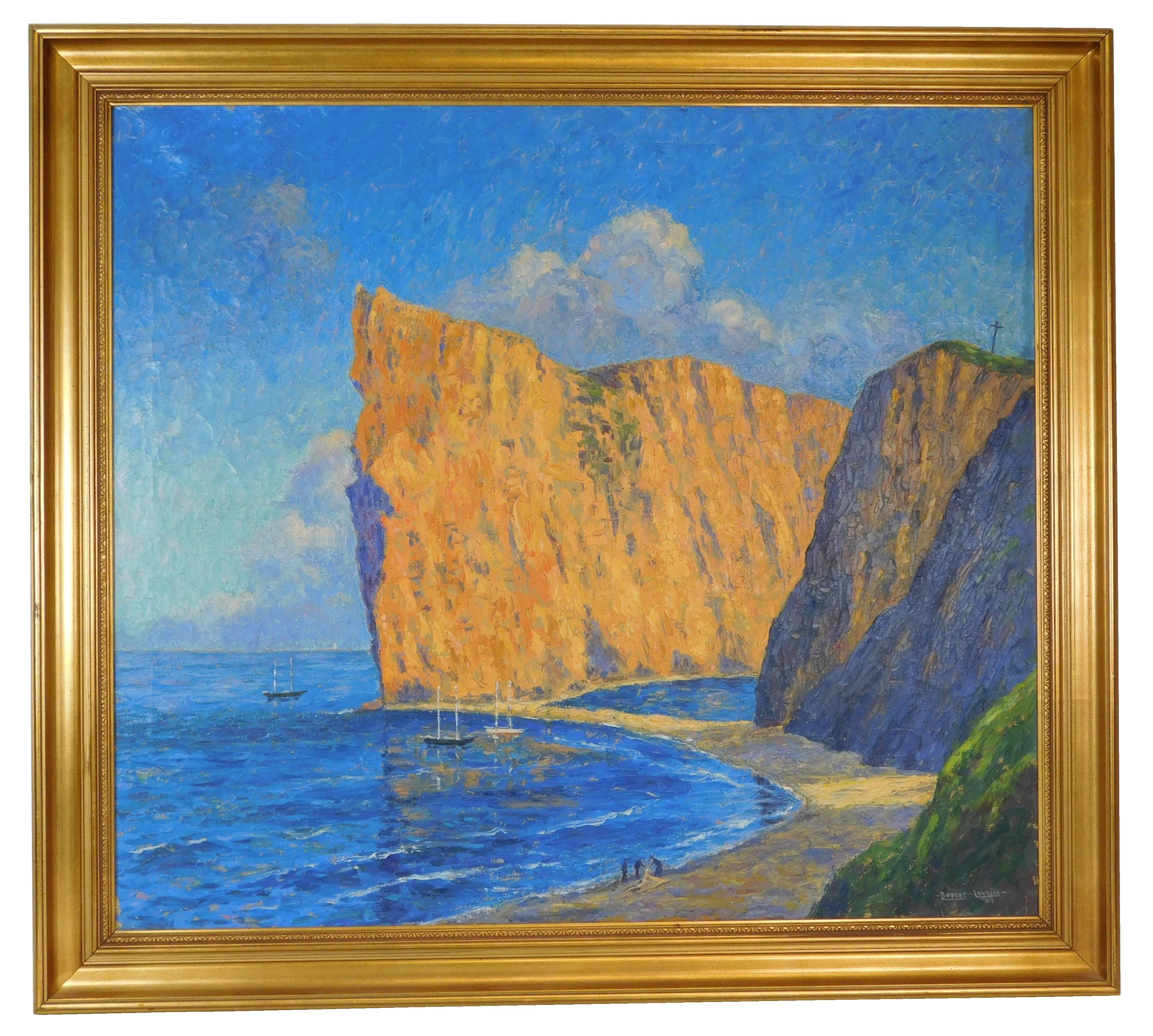 "Rupert Lovejoy (American, Maine,1885-1975), ""Low Tide: Roche Perce"" (Canada), oil on canvas, sunlight striking cliffs over bay, clif..."