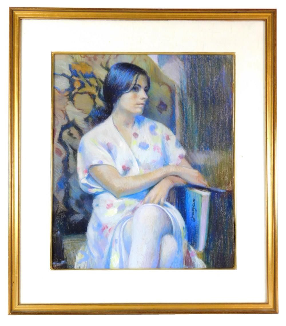Sam (Samir) Barber (American, b. 1943), pastel on paper, seated woman with blue book, she wears a white dress with various colorful...