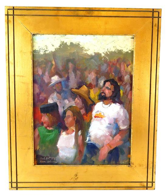 Theodore Tihansky (American, Maine, 21st C.), oil on board, country music fans at concert, five distinct figures stand in crowd, two...