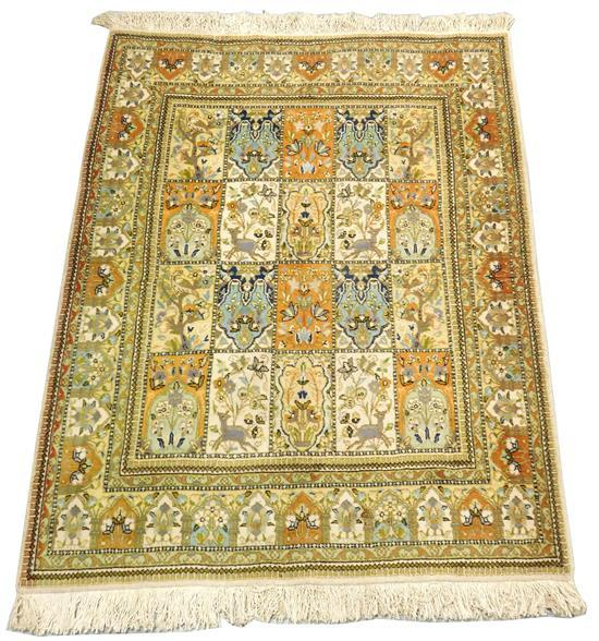 "RUG: Modern Persian Tabriz style, 76"" x 56"", panel center with animals, wool on cotton, tan with floral and fauna in blocks, soiled..."