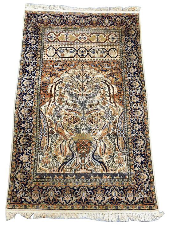 "RUG: Modern Persian style, 48"" x 76"", meditation/prayer rug, animals, birds, deer, overall tan with dark blue boarder, tree of life,..."