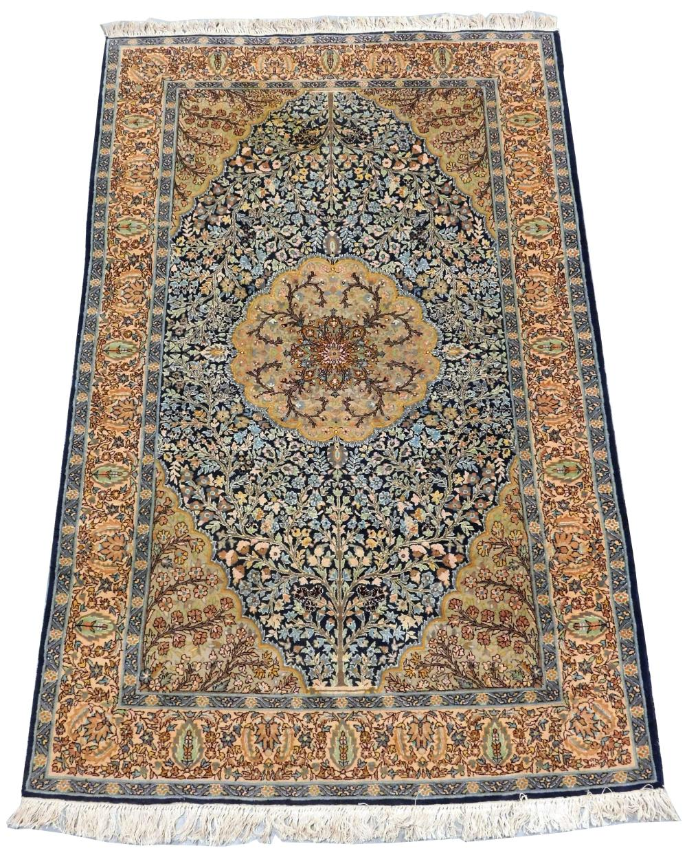 "RUG: Modern Persian style, 4' 6"" x 7' 2"", wool on cotton, light blue and tan, overall good condition."