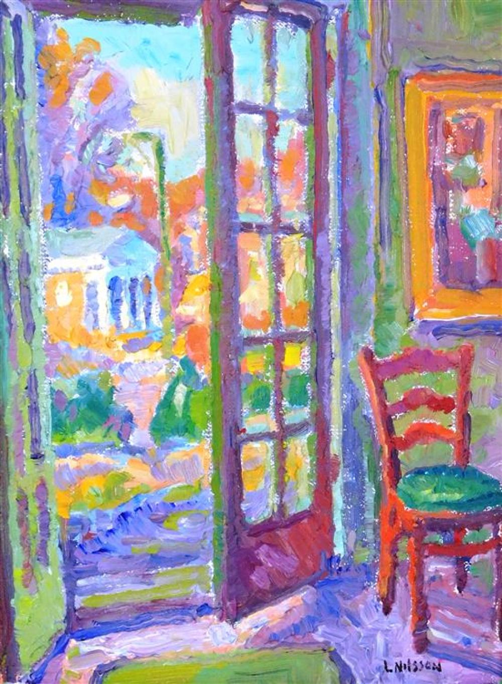 "Leif Nilsson (Connecticut, b. 1962), oil on canvas, ""Through the Doors with Red Chair"", stylized and colorful interior scene, red ch..."