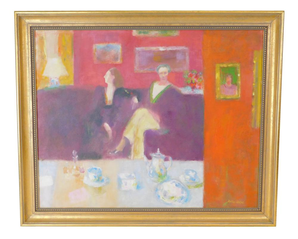 "Ralph Della-Volpe (American, b. 1923), ""Conversation After Dinner"", oil on canvas, vibrant home scene depicts two women sitting on a..."