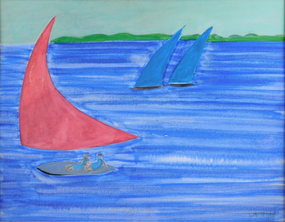 """Sally Michel (Avery) (American, 1902-2003), """"Sails"""", 1966, oil on panel, abstracted sailing scene, three sailboats on calm water, on..."""