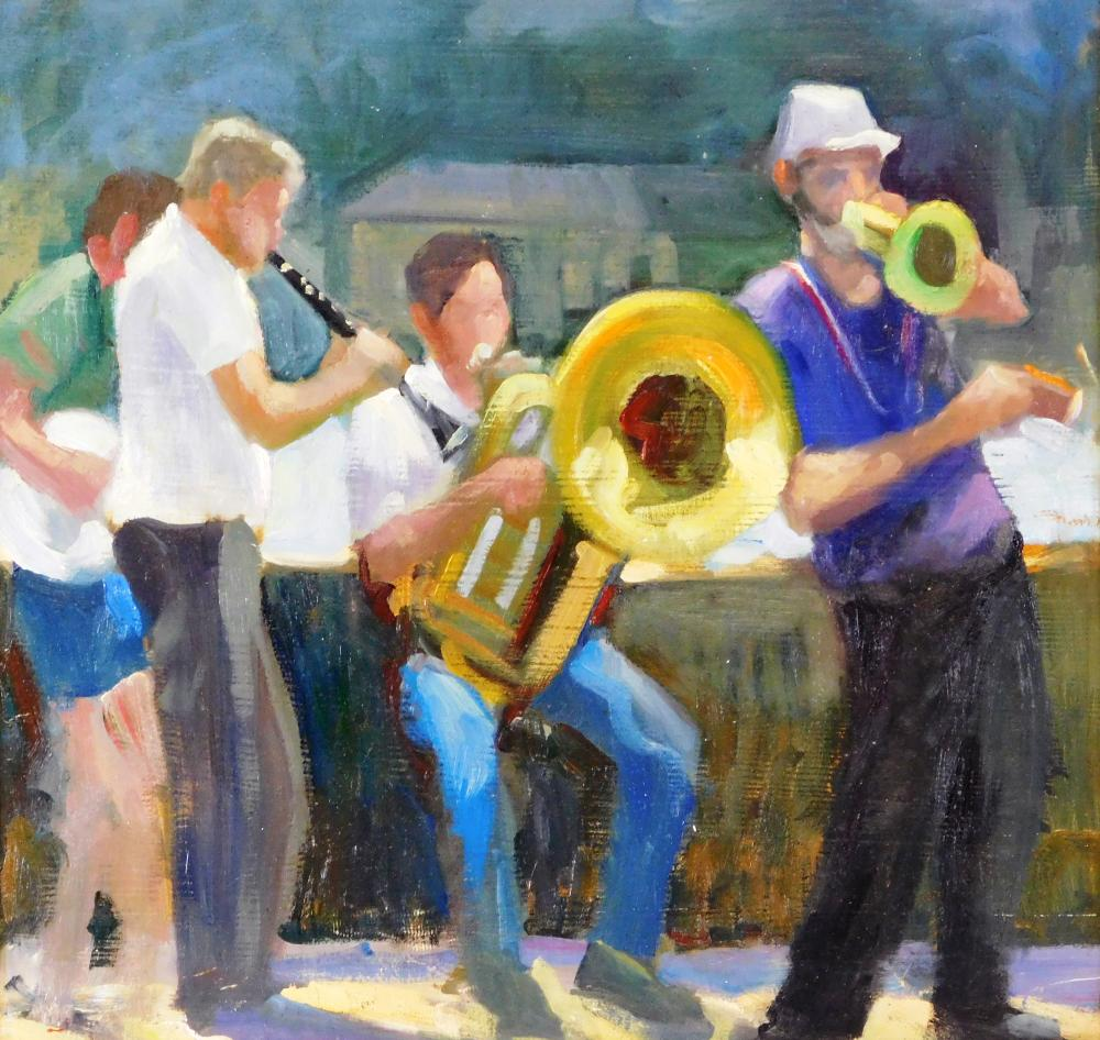 Theodore Tihansky (American, 21st C., Maine), oil on board, group of musicians including clarinet player, tuba player, banjo player...
