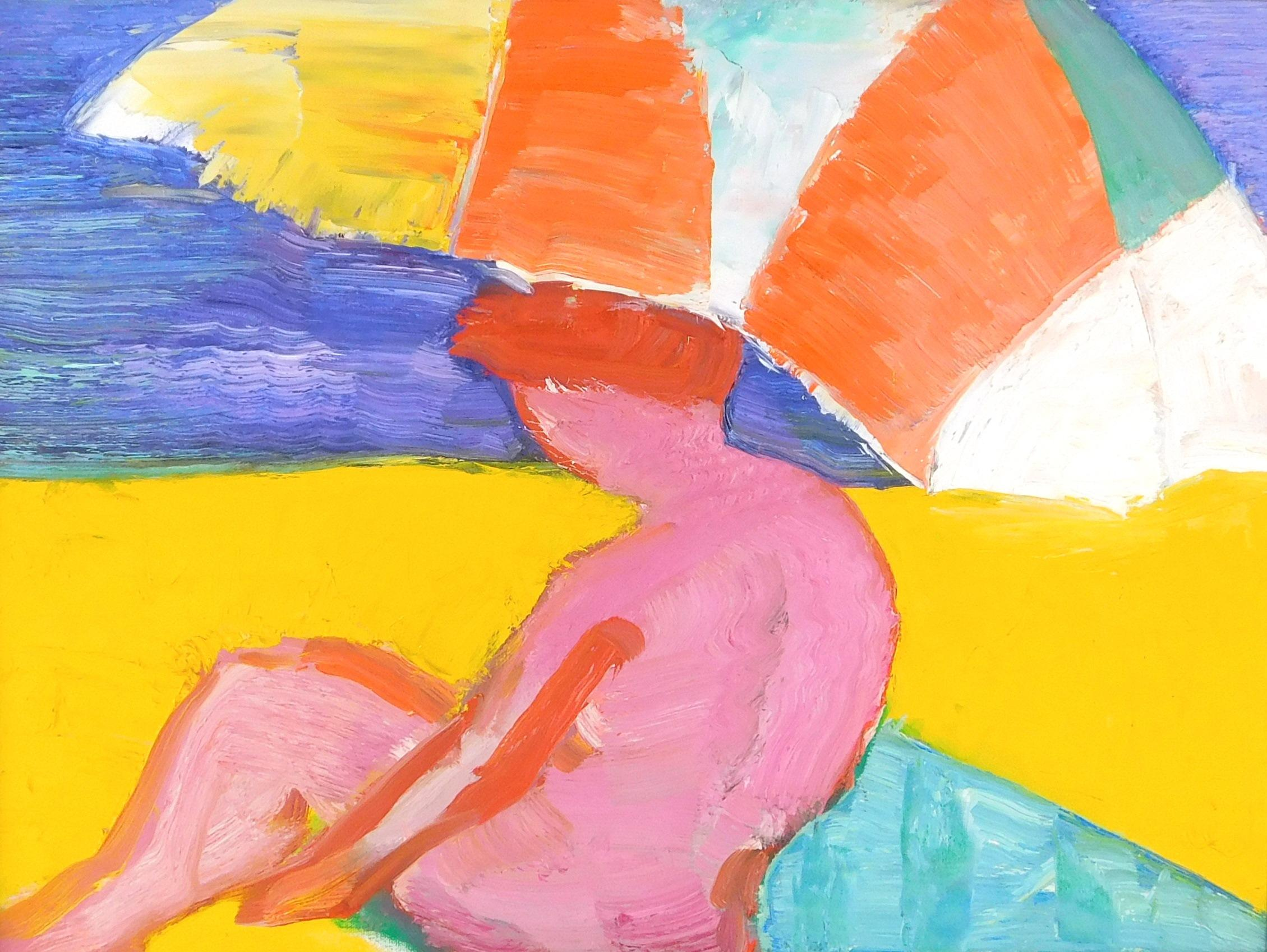 John Grillo (American, 1917-2014), oil on canvas, pink-toned figure rests on teal towel on beach under a multi-colored umbrella, vib...
