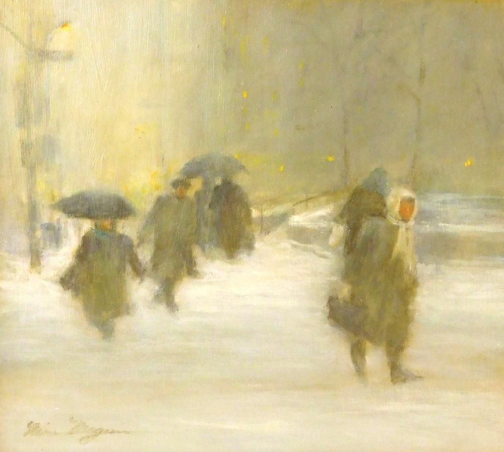 "Nina Maguire (American, b. 1933), acrylic on board, ""Going Home NYC Winter"", grey-toned snow scene with walkers throughout holding u..."