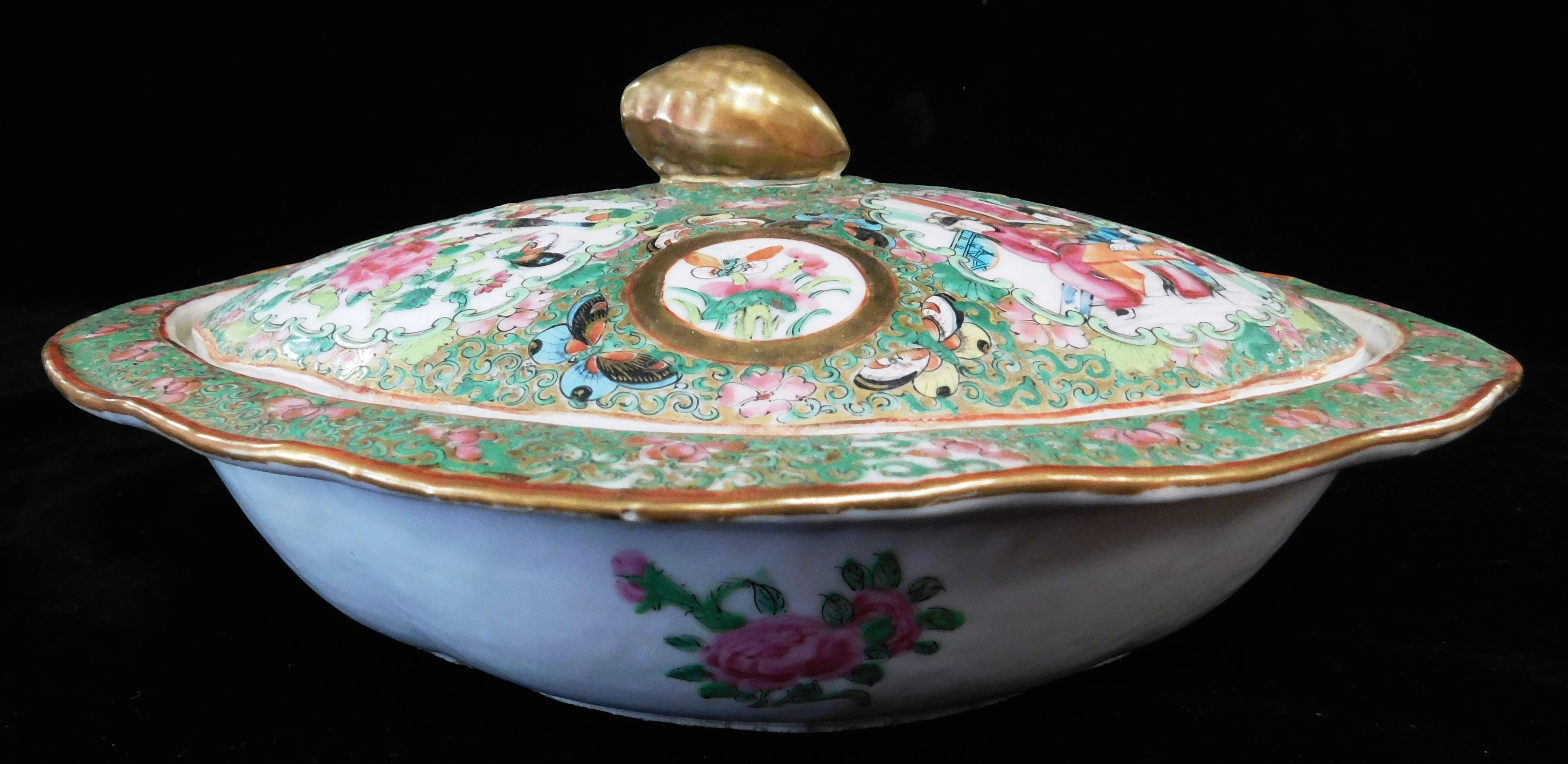 ASIAN: Chinese Export porcelain covered vegetable dish, 19th C., Rose Medallion pattern, oval with gilt finial, wear consistent with...