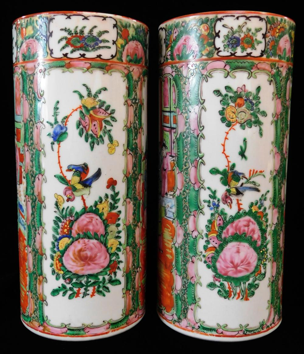 "ASIAN: Pair of Chinese Export porcelain vases, 20th C., Rose Medallion pattern, cylindrical form, marked ""Made in China"" on bases, w..."