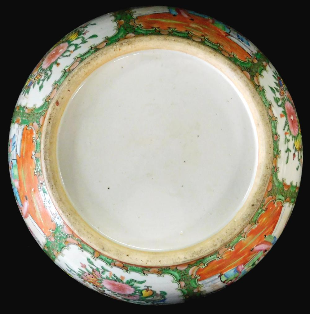 ASIAN: Chinese Export porcelain punchbowl, 19th C., Rose Medallion pattern, wear consistent with age and use, including wear to enam...