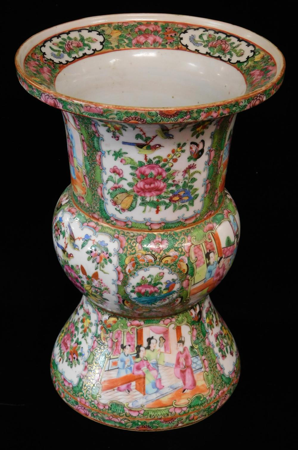 """ASIAN: Chinese Export porcelain vase, 19th C., Rose Medallion pattern, Ku-form, wear consistent with age and use, 13"""" h."""