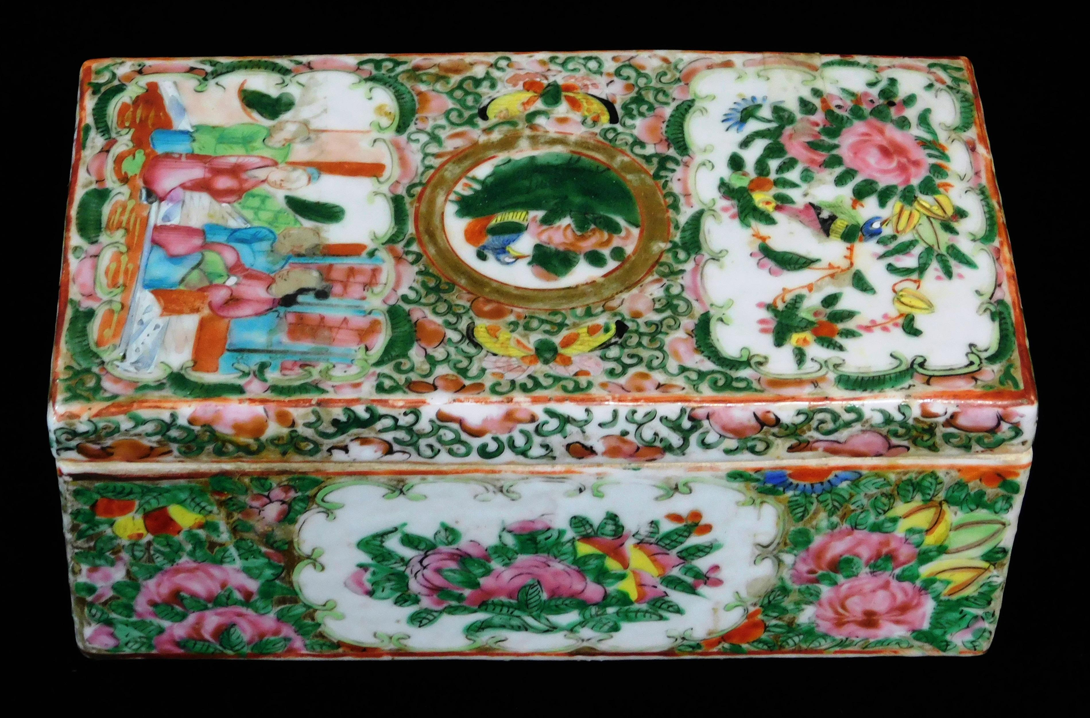 ASIAN: Chinese Export porcelain brush box, 19th C., Rose Medallion pattern, rectangular lid over conforming case with bisected inter...