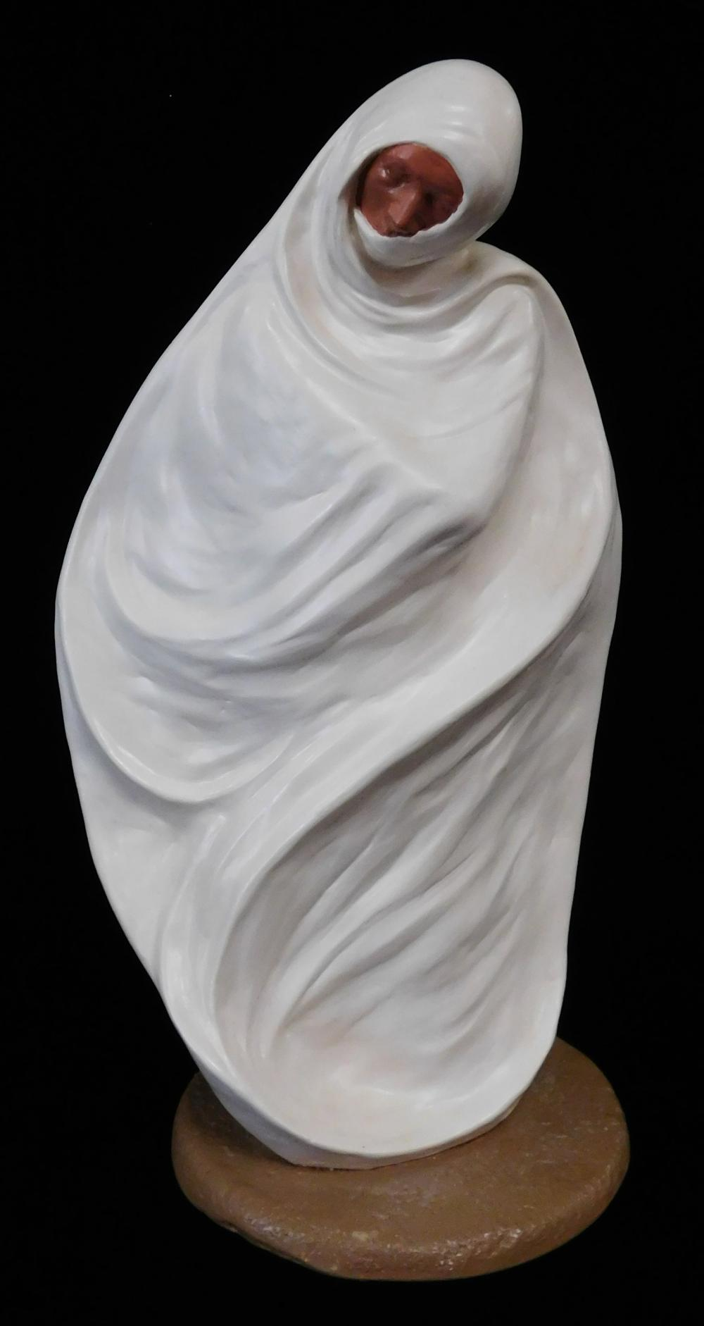 Jo Saylors (American, b. 1932), three modern ceramic figures, limited editions, all shrouded in white cloth with just the face showi...