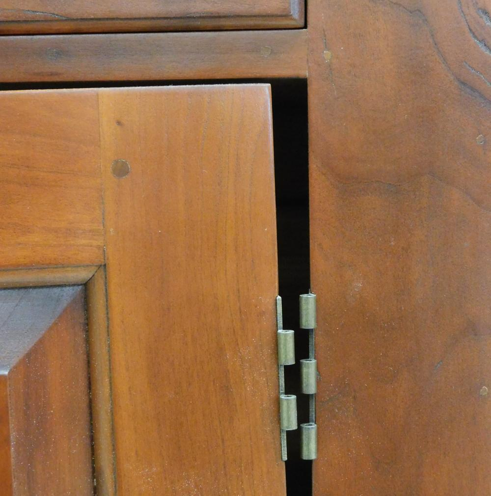 """D. R. Dimes """"Lincoln County Glass Door Cupboard"""", 2003, in two pieces, step-back upper case with molded crest over two glass front c..."""