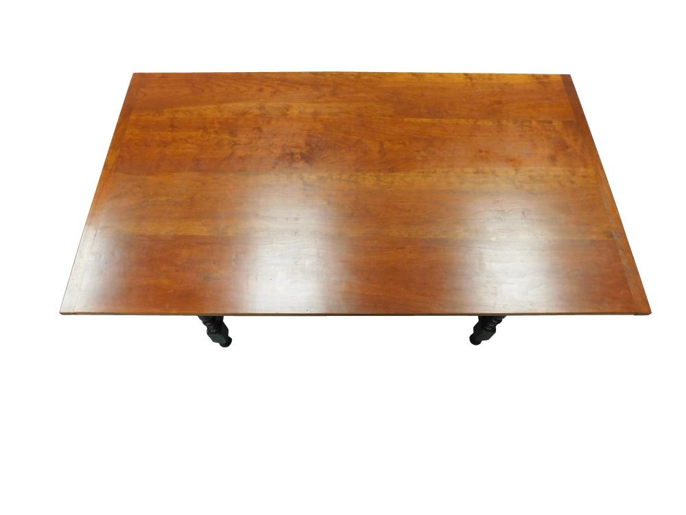 """D.R. Dimes, """"Salisbury Tavern Table"""", 2007, figured maple, five plank maple top with breadboard ends over ring and urn turned legs,..."""