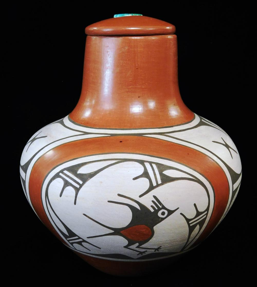 Zia Pueblo covered jar by Ruby Panana (b. 1954), terracotta jar with bulbous body and tapered neck, white and brown geometric design...
