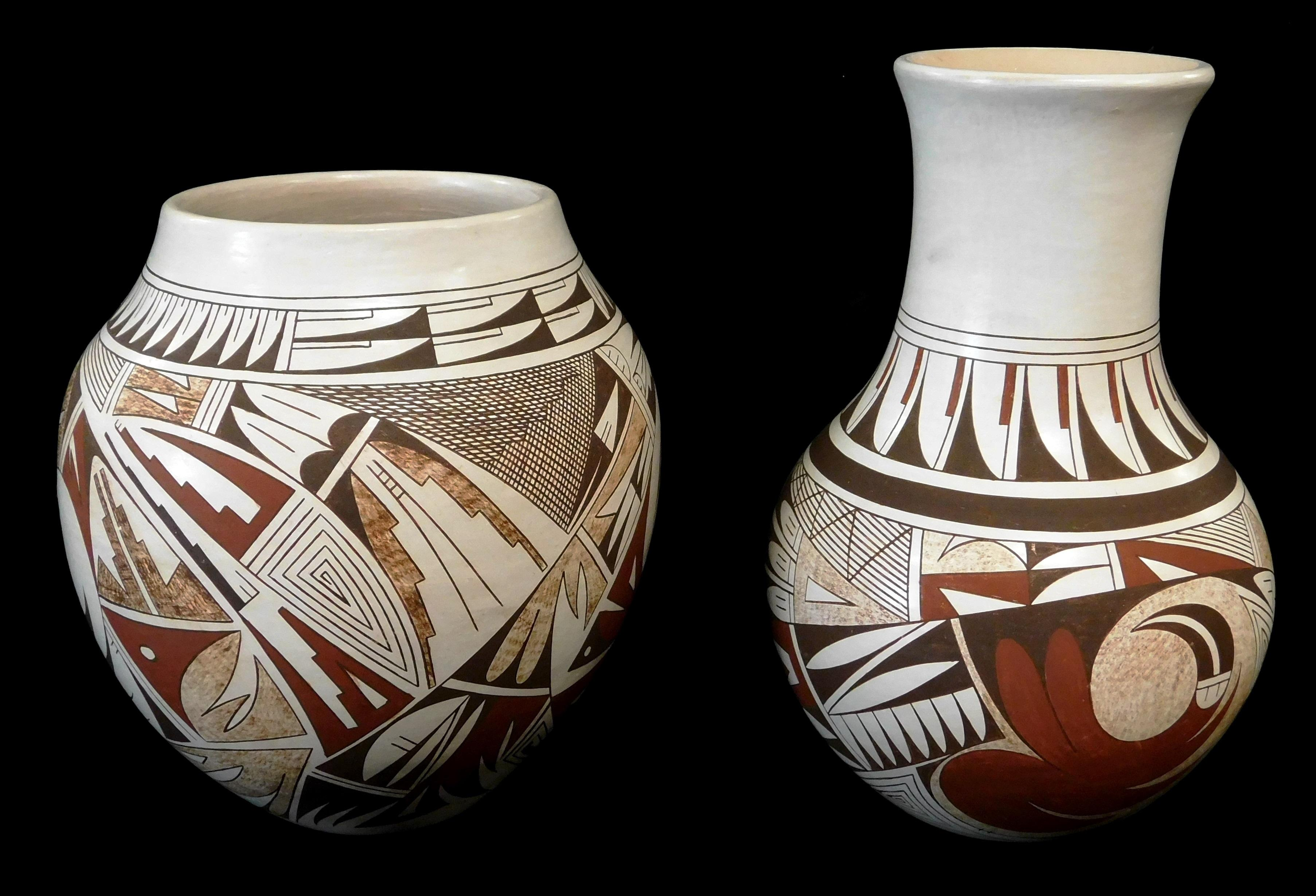 Maynard and Veronica Navasie (Hopi, 20th C.), two pieces of Native American pottery including one jar and one vase, both with rust a...