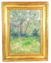 Elizabeth Campbell Fisher Clay (American, 1871 - 1959), oil on canvas, depicts spring landscape with scattered blush-tone blossoms b...