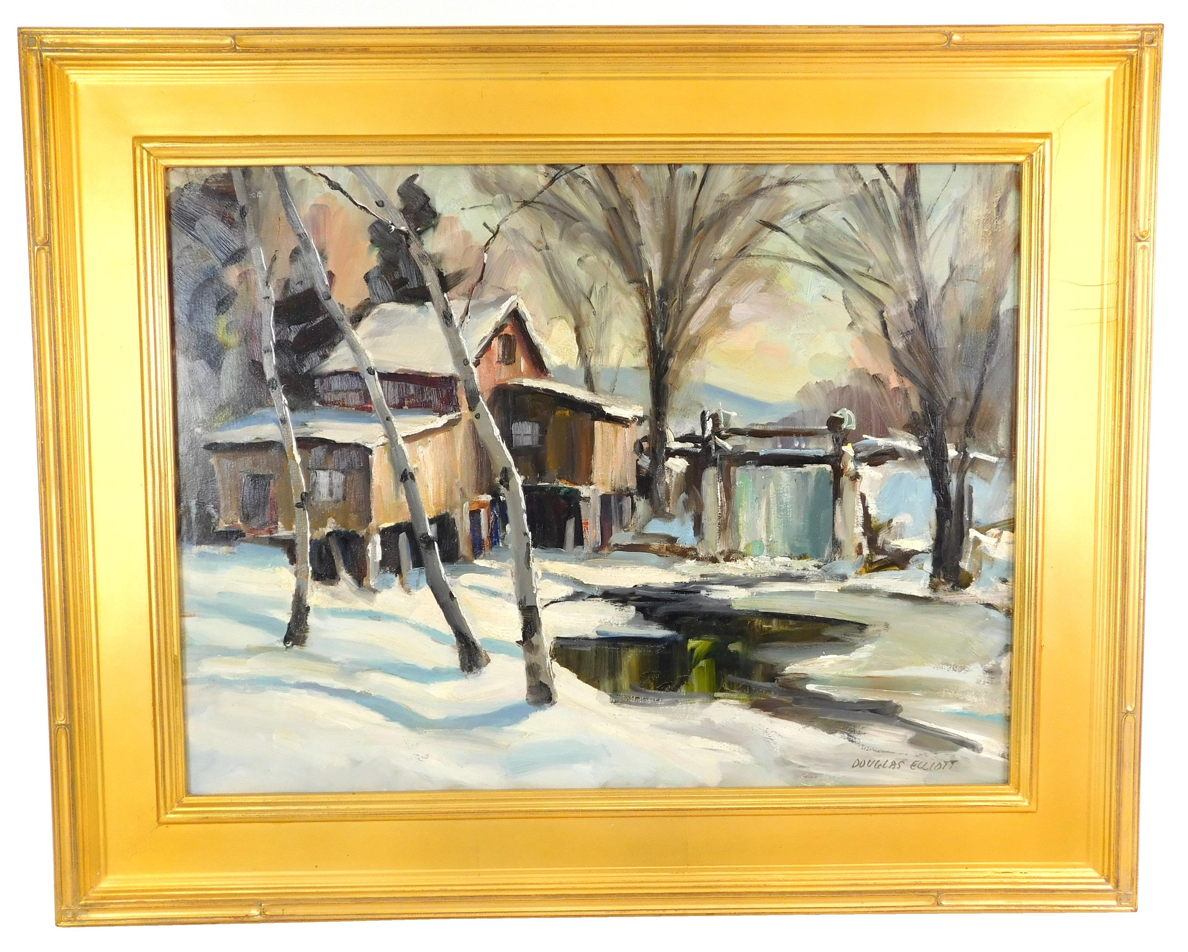 "Douglas Ferguson Elliott (Canadian, 1916 - 2012), ""The Ancient Mill, Ontario"", c. 1989, oil on masonite, depicts snow scene of froze..."