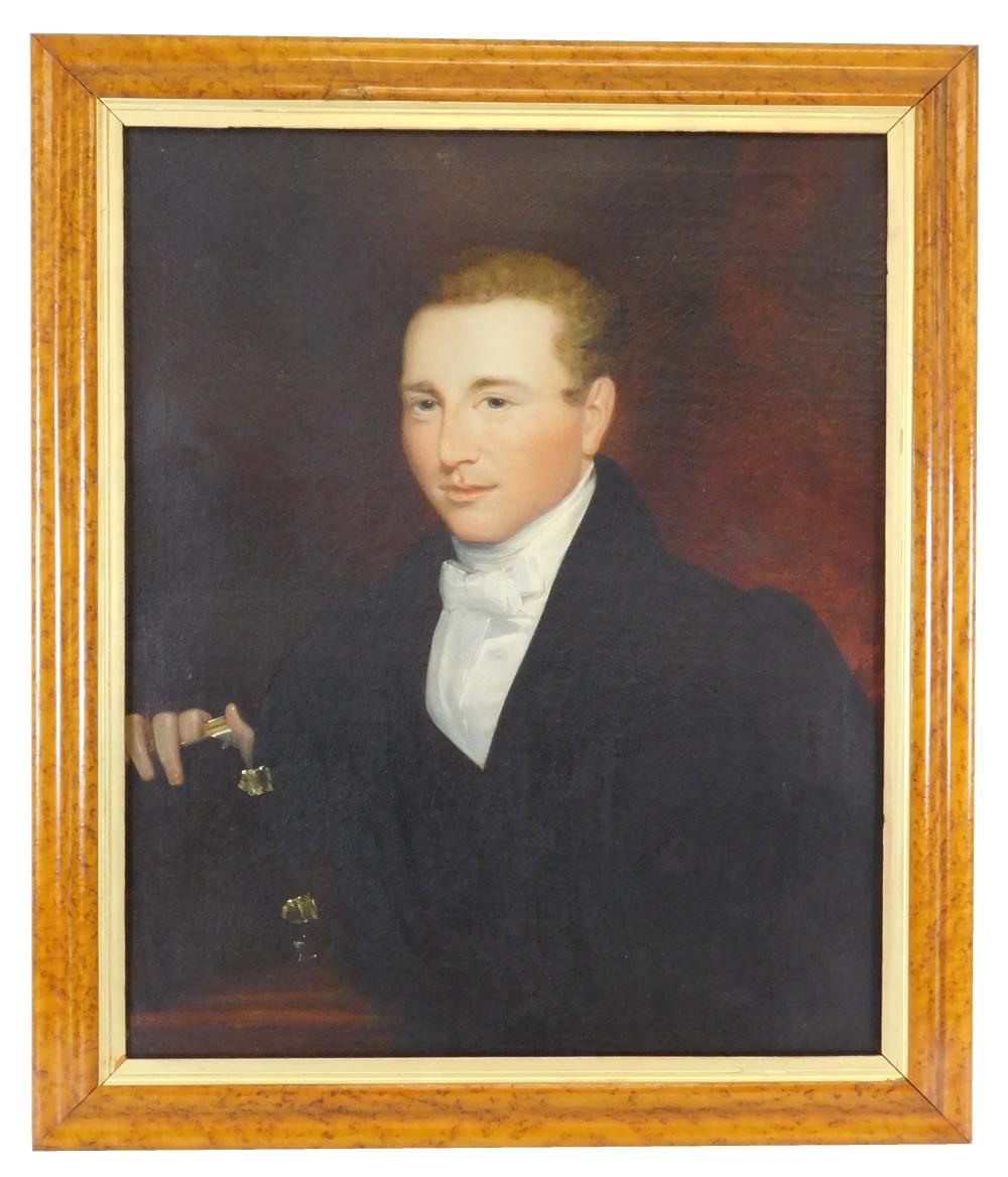 19th C. Portrait of young man with book, oil on canvas, depicts a gentleman with light colored hair and blue eyes in formal dress, d...