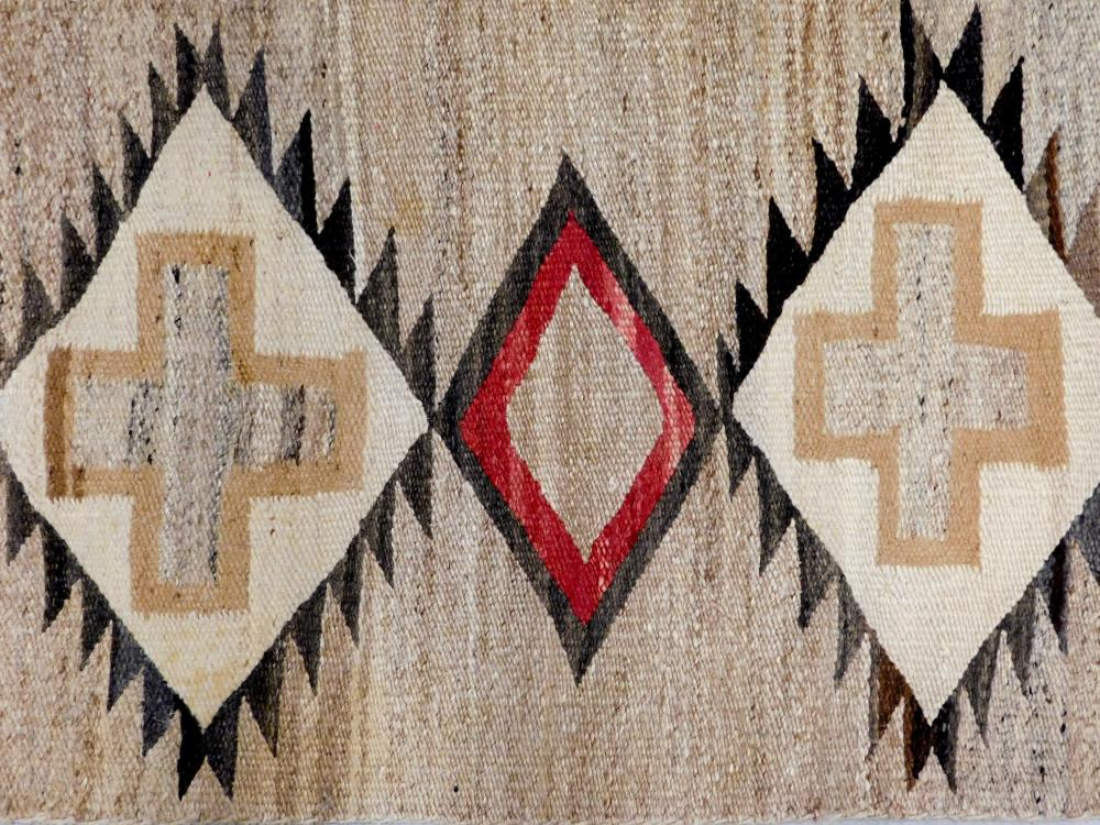 "RUG: Native American Navajo rug, 4' 3"" x 2' 2"", wool on wool, marled light brown field, triple medallion and cream crosses, accents.."