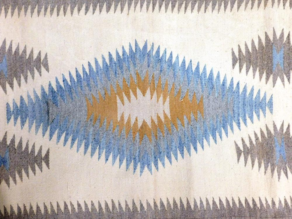 """RUG: Native American Navajo rug, 5' 4"""" x 2' 6"""", wool on wool, light grey field with white, light blue, and peach accents, wear consi."""