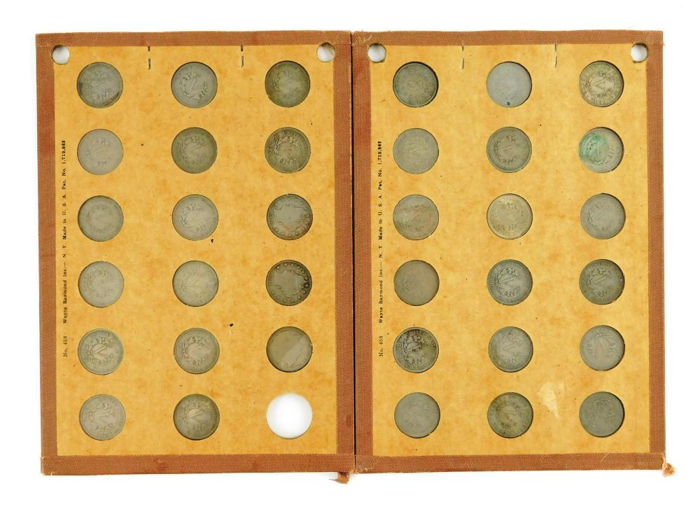 COINS: Complete set of Liberty nickels, 1883 to 1912-S, housed in 2 Wayte Raymond style coin boards, includes an 1883 shield 5c in F...