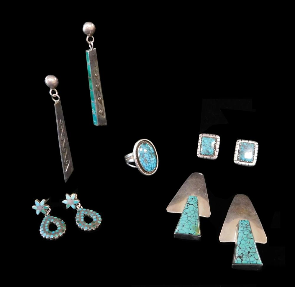 Native American and similar jewelry, four pairs of pierced earrings and a ring, all with inset turquoise, some signed, details inclu...