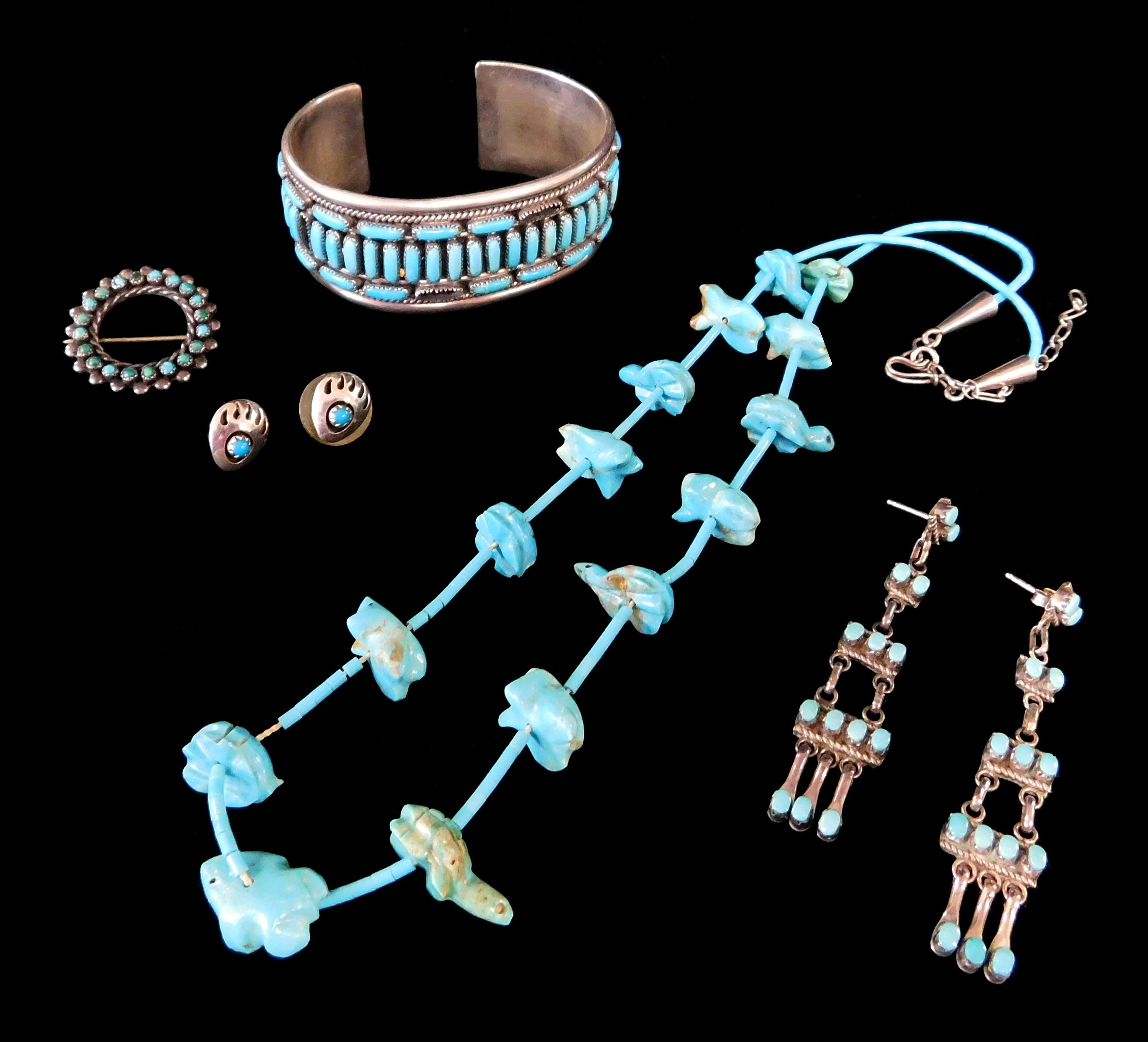 Native American and similar jewelry, five pieces including cuff, two pairs of pierced earrings, pin and fetish necklace, all with tu...