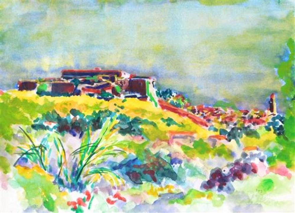 """Dody Muller (American, d. 2001), """"The Fog- Collioure"""", 1978, watercolor on paper, depicts a southwestern landscape with city in back..."""