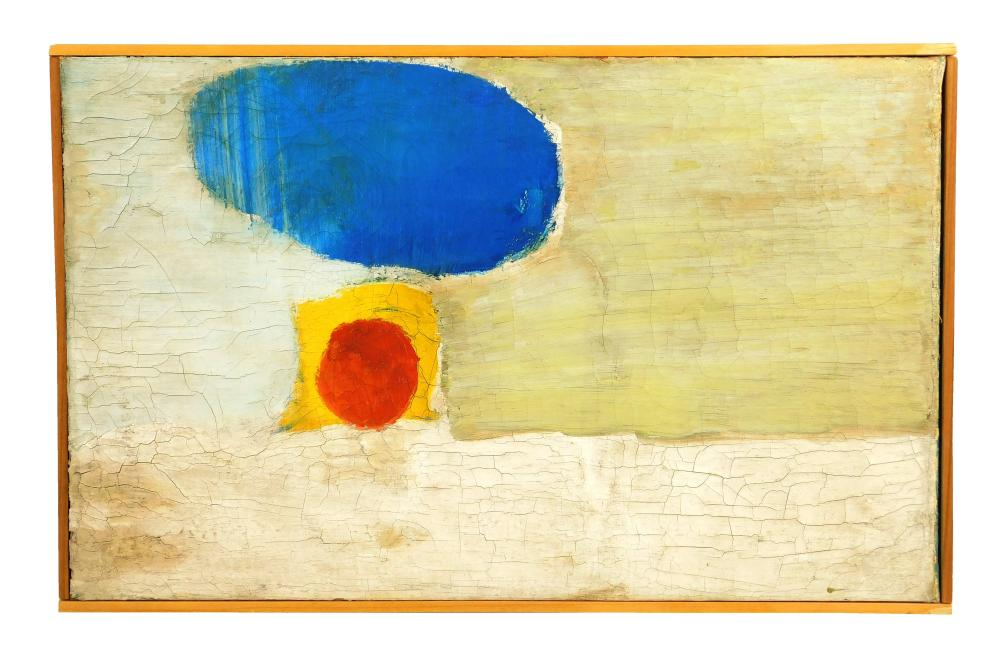 """John Grillo (American, 1917 - 2014), """"Underneath a Dark Cloud"""", 1959, oil on canvas, depicts an abstract composition of shapes featu..."""