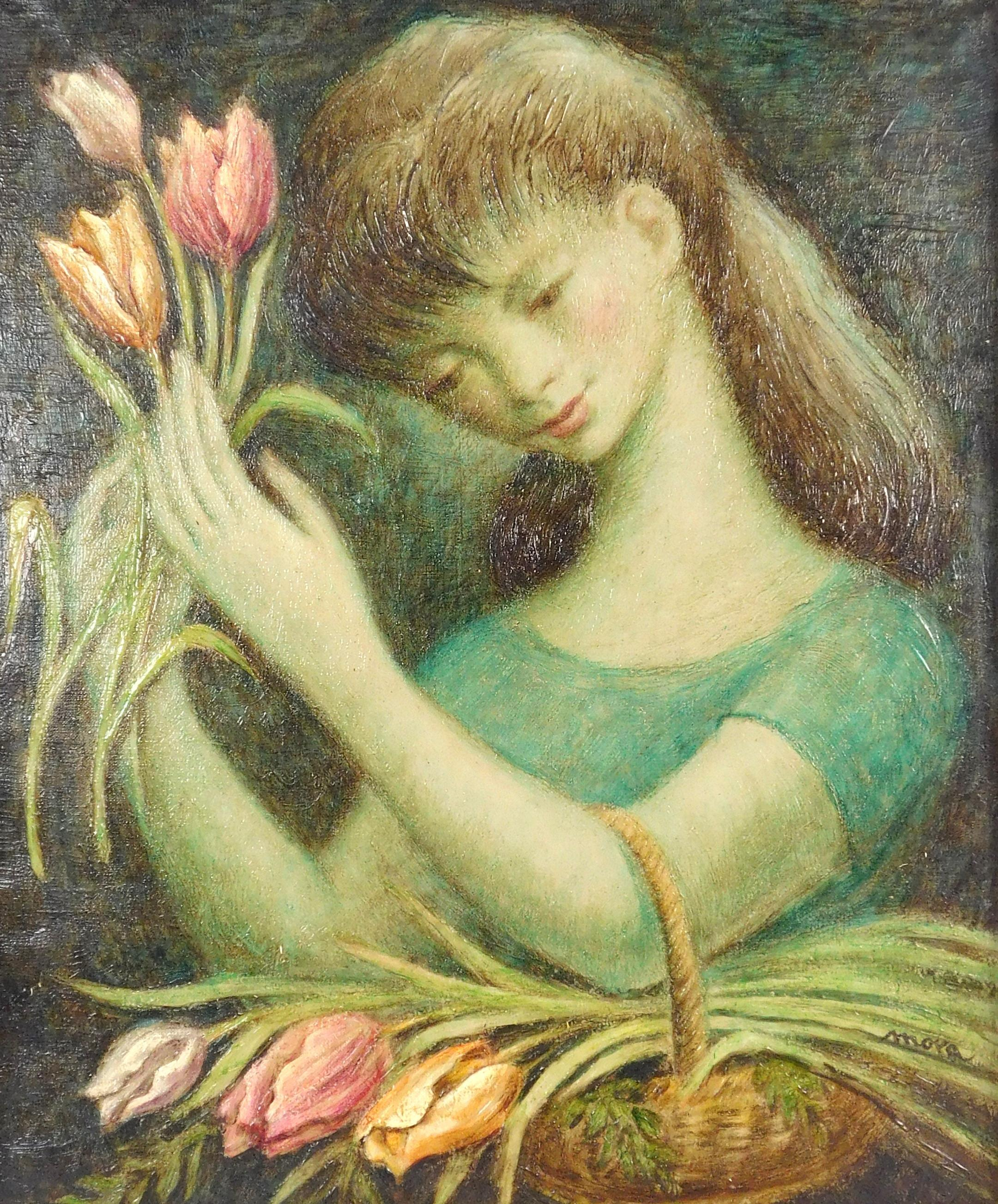"Oil on canvas depicting girl with tulips, signed ""Mora"", 20th C., depicts a pretty brunette with pink tulips, signed LR, framed, not..."