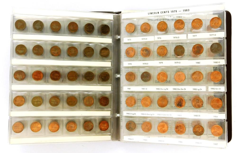 COINS: Album of Lincoln Cents, 1909 to 2002-P, Complete by date and mint except for the 1909-S VDB, grades range from About Good to...