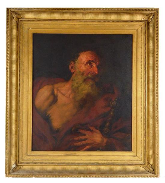 "Attributed to Giovanni Battista Langetti (Italian, 1625 - 1676), ""St. Jerome"" (or possibly St. Paul), oil on canvas, depicts an elde..."