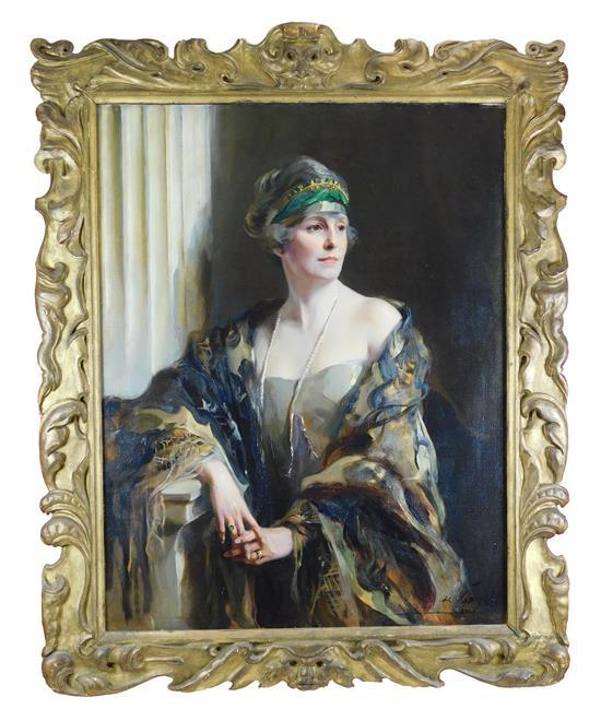 "Philip Alexius de Laszlo (Hungarian, 1869 - 1937), ""Mrs. Chichester de Windt Crookshank (nee Mary ""Maimie"" Usher),"" oil on canvas, 1..."