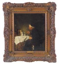 Attributed by plaque to M. Ebersberger (Max Ebersberger, German 1852-1926), oil on canvas, priest seated at table with bird perched...