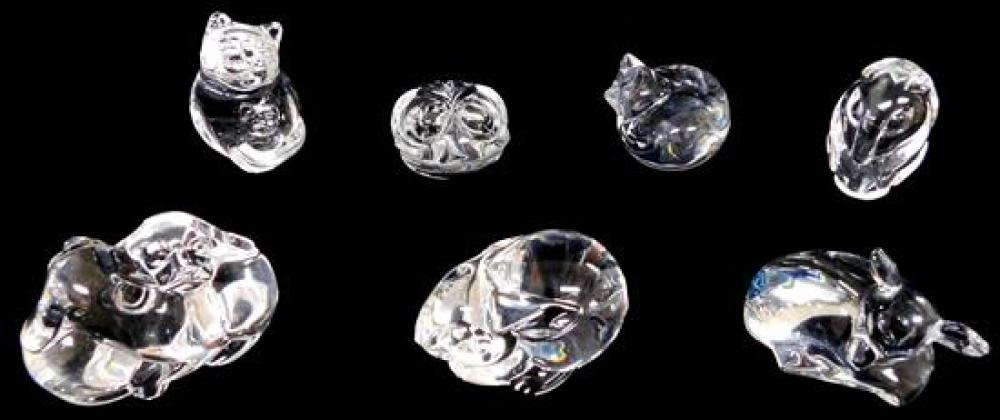 Steuben, seven animal themed crystal hand coolers, six with inscribed signature and one stamped (fawn), pieces include: upright cat...