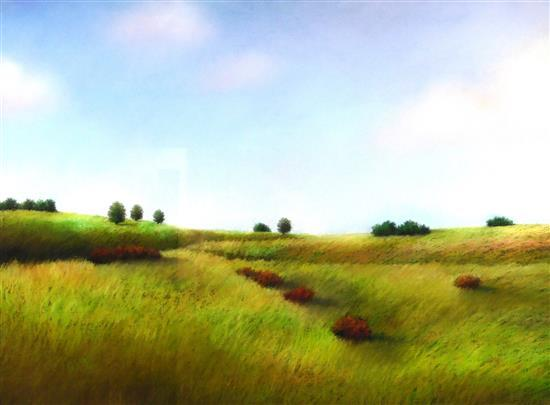 "Elisa Tenenbaum (American, 20th C.), pastel on paper, ""Panorama"", serene landscape will softly rolling hills dotted by deep green tr..."
