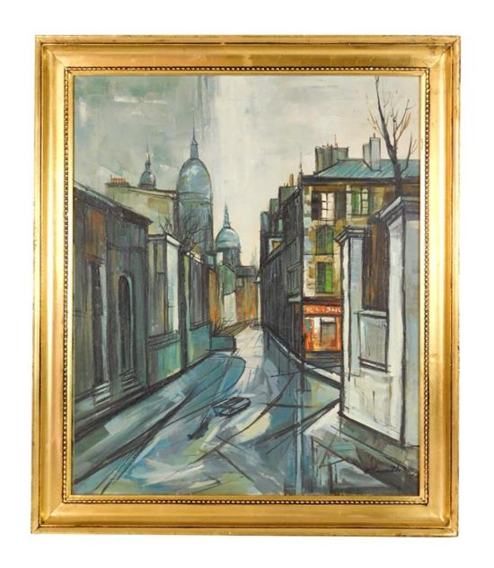 """Ellsworth"", mid-20th C. oil on canvas, street scene with domes in distance, heavy stylistic black lines frame out buildings, rainy..."