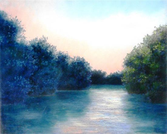 "Elisa Tenenbaum (American, 20th C.), pastel on paper, ""Water Fading Light"", sunset scene of calm stream lined with lush bushes, warm..."