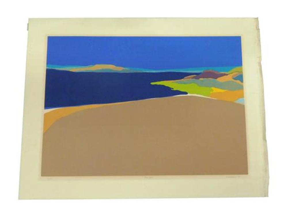 "Four modern prints: Elizabeth Osborne, ""Passage"", color woodcut, 1971, Ed: 50, signed with pencil lower right, titled with pencil lo..."