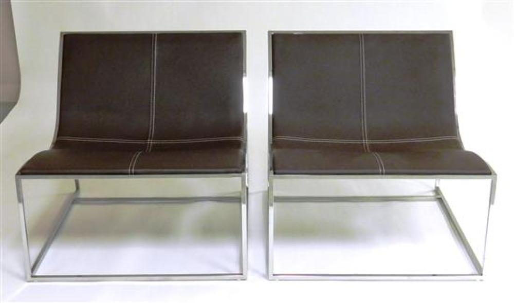 Pair of modern chrome and faux leather chairs by Coalesse, back reclines with deep seat and low seat height, deep brown faux leather...