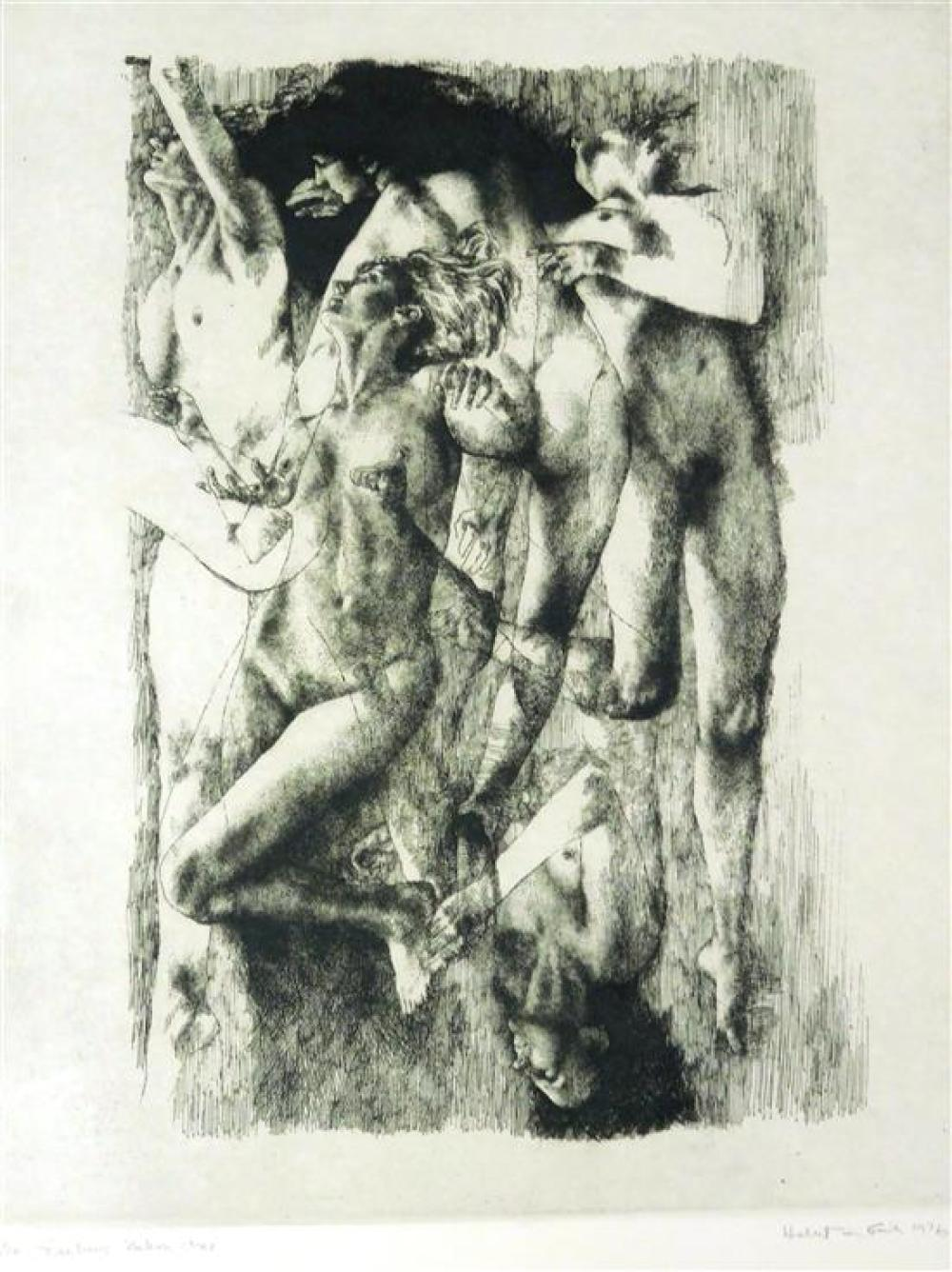 """Herbert Fink (American, 1921-2006), three prints: """"My Bicentenial Print"""", etching and aquatint, 1976, ed: 100, signed and dated with..."""