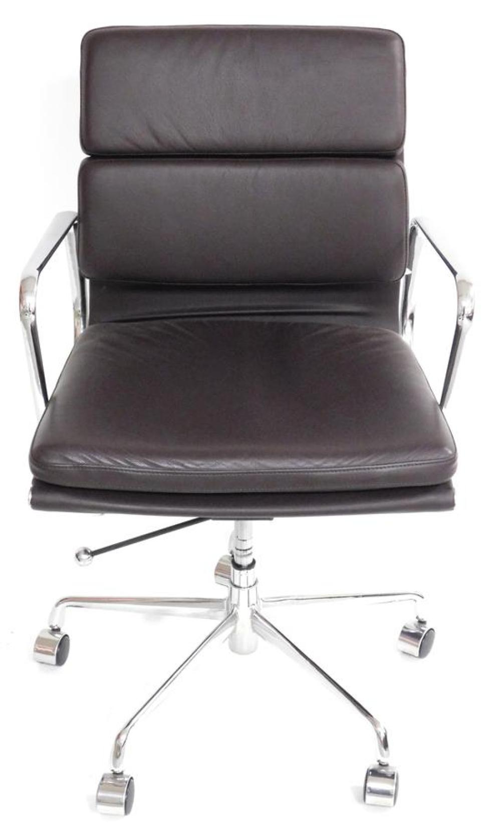 Office chair, Eames-style design with chrome swivel base, brown leather type upholstered seat and back, adjustable seat, chrome arms...