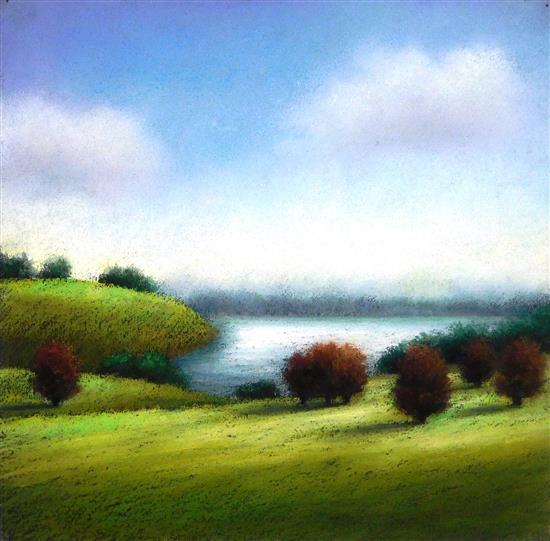 "Elisa Tenebaum (American, 20th C.), pastel on paper, ""Glimpse of the Sea"", verdant green hills meet an inlet of water, forest green..."