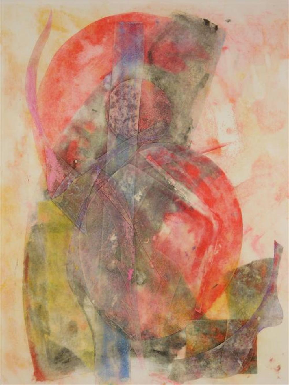"""Miklos Pogany (Connecticut, 1946), """"Sundays and Cybele"""", 1989, color monotype, abstract composition with overlapped shapes, various..."""